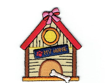 Dog House - Bow, Bones - My House Sign - Embroidered Patch - Iron on Applique 157337A