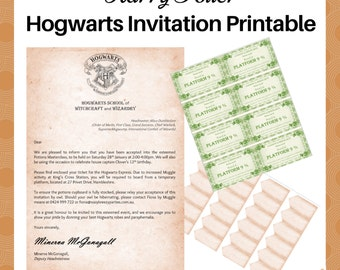 HARRY POTTER Invitation - EDITABLE file - Potions masterclass invite letter, Hogwarts Express train ticket, name tags - Digital download