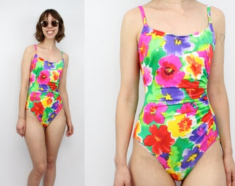 Vintage 80's 90's Floral One Piece Bathing Suit / 1990's Swimwear / Bright Floral / Cole Of California / Women's Size Small