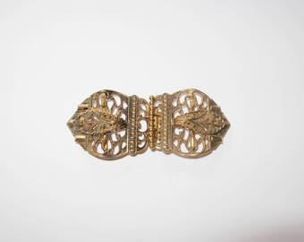 Vintage Art Deco Filigree Double Buckle Clasp