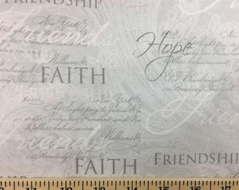 Faith Hope Friendship Gray Fabric By the Yard or Half Yard Grey Slate Friends Fabric Cotton Quilting Fabric t2-4