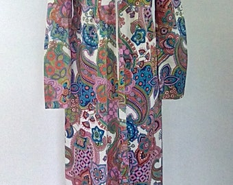 Vintage maxi dress 1970's floral paisley Cotton dress Maxi Dress Small