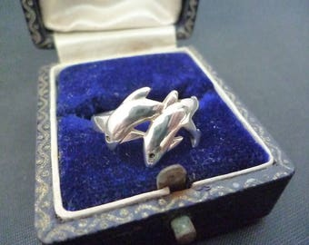 Silver dolphin ring - 925 - sterling silver - UK L half - US 6