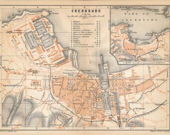 1910 Cherbourg France Antique Map