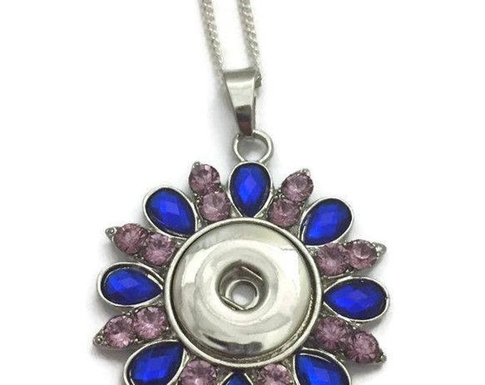 Snap Necklace-, Snap Jewelry,Blue & Pink Stone Snap Necklace, Fits all 18mm Snap Buttons and Snap Charms, Snap Interchangeable Jewelry