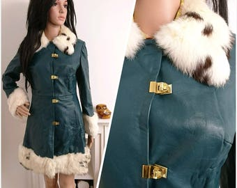 Vintage 60s Teal Green Leather Fur Collar Cuffs Dolly Coat Mod Glam S / UK 8 10 / EU 36 38