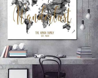 Black and White World Map wedding guest book Printable - Printable Files only
