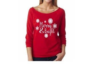 womens christmas sweater/ Merry and Bright / christmas sweater