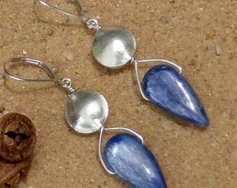 Kyanite Earrings Karen Hill Tribe Silver Blue Flat Teardrop Briolettes Gemstone Jewellery Sterling Silver Leverback Artisan Designer Boho