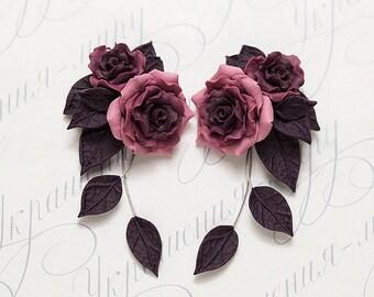 Purple rose earrings. Plum purple flower earrings. Polymer clay jewelry. Rose jewelry. Purple Bridesmaids gift. Purple jewelry. Gift for mom