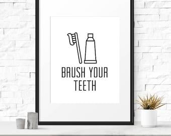 Bathroom Signs Brush Your Teeth dentist sign | etsy