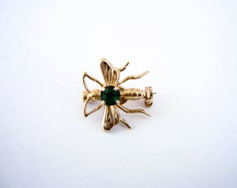 Vintage TINY beetle insect gold brooch with emerald green rhinestone