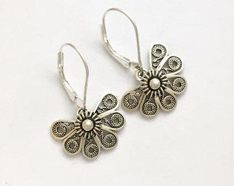 Sterling silver earrings, .925 silver, sterling lever backs