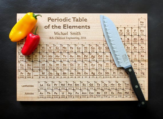 Personalized Periodic Table Cutting Board Engraved with Name, University and Degree in White Oak, Maple, Cherry or Walnut Wood.