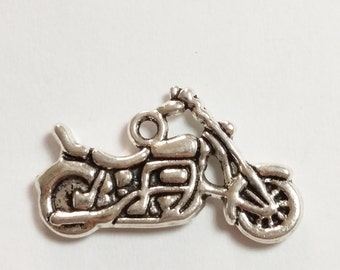 6pcs Motorbike Charms - Antique Silver 24x14mm Jewelry Supplies - B03298