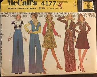 McCalls 4177 - 1970s Shortwaisted Jacket, Highwaisted Pants and Skirt - Size 6 Bust 30.5