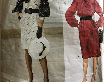 Vogue 1316 - 1980s Paris Original Givenchy Knee Length Dress with Bow Tie Collar and Full Gathered Sleeves - Size 12 Bust 34