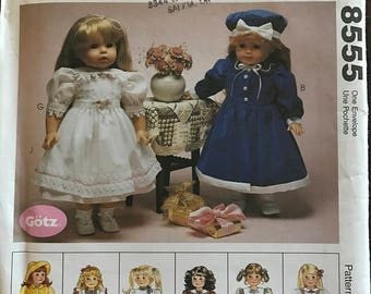 "McCalls 8555 - Gotz Doll Clothing Including Rain Jacket, Dress, Pinafore, Poodle Skirt, and Accessories - 18"" Doll"