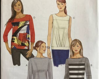 Butterick B6132 - Pullover Close Fitting Top with Boat Neck and Asymmetrical Collar or Yoke - Size 14 16 18 20 22