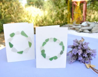 Sea Glass Cards, Greeting Cards, Set of 2, White Birthday Cards, Anniversary Cards, Get Well Cards, Thank You Cards, Nautical Cards