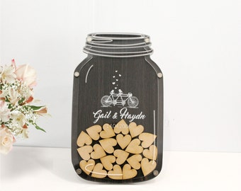 Alternative wedding guest book, mason jar drop box, guest book drop box by TreeX