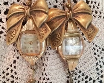Antique Watch Earrings, Watch Face, Ladies Watch Dials, Victorian Bows, Vintage Crystal Beads, Dangle Upcycled Crosby Watch, Fancy Earrings