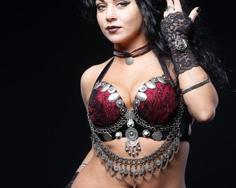 Tribal Fusion bra Dark Fsusion ATS Etnic Belly Dance Bra+Necklace YOUR size