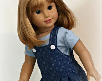 Darling denim overalls for 18 inch dolls