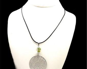 Peridot necklace, stone jewelry, silver round pendant, leo zodiac jewelry, holistic jewelry necklace peridot jewelry green stone pendant cyl