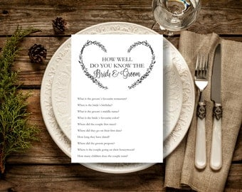 How well do you know the bride and groom printable card, Bridal Shower Games, Instant Download, Editable Text