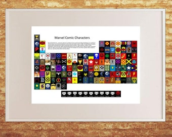 Marvel Superhero Periodic Table, Home Decor, A3, Framed Picture, Comic Book,
