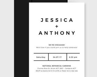 Engagement Party Invitation | Printable | Simple Black & White