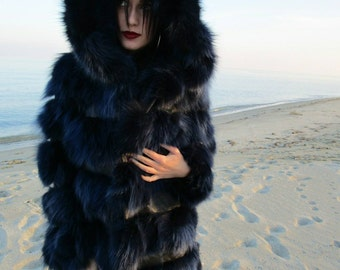 BLUE LIKE SEA! part 2-More Pictures  by the Sea!New,Natural, Real Modern model Hooded Fox Fur jacket!!!