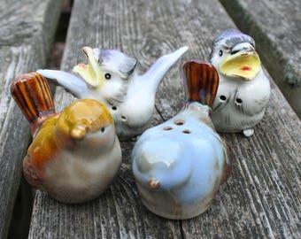 Lot of 4 bird salt and pepper shakers blue birds
