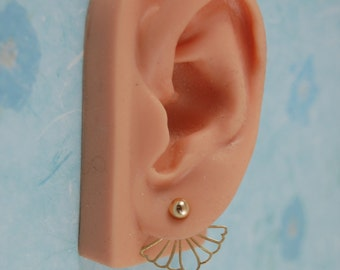 Ear Jackets- Gingko Leaf with 5mm Gold Filled Stud