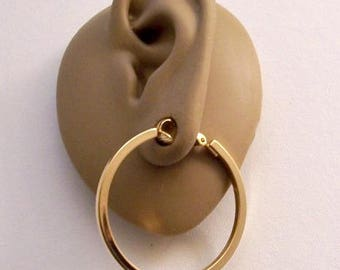 Avon Square Tube Hoops Clip On Earrings Gold Tone Vintage 1977 Great Hoops Large Round Open Polished Dangle Rings