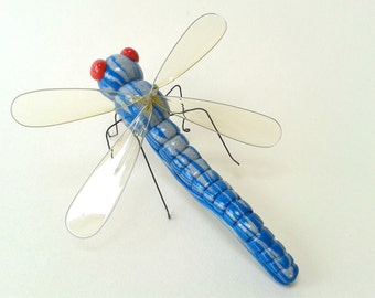 Blue Polymer Clay Dragonfly Ornament Insect Sculpture Entomology Gift OOAK Bug Figurine