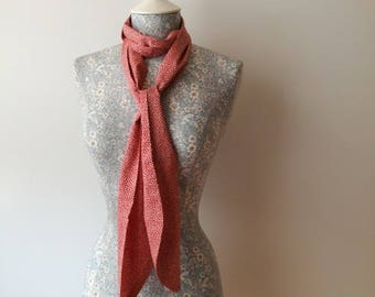 Liberty of London Red Floral Skinny Scarf Tie Thin Belt Headscarf Long Summery Cotton