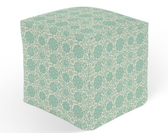 Turquoise Pouf, Floral Ottoman, Cube Pouffe Footrest, Polyester Ottoman, Green White Decor, 18x18 Ottoman, 13x13 Cube Seat, Green Hassock