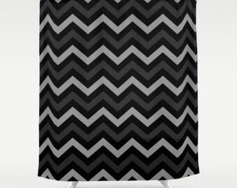 Black Shower Curtain, Chevron Shower Curtain, Modern Shower Curtain, Zig Zag Shower Curtain, Black Grey Bath Curtain, 71x74