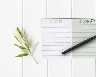 Must Do May Do Task Notepad / Hand Lettered Notepad / To Do List Checklist / Stationery / Teacher New Mom Sister Husband Dad Girlfriend Gift