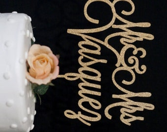 Custom Wedding Cake Topper Mr and Mrs Gold