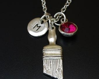 Paint Brush Necklace, Paint Brush Charm, Paint Brush Pendant, Paint Brush Jewelry, Paintbrush Necklace, Paintbrush Jewelry, Gift for Painter