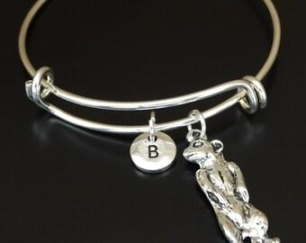 Meerkat Bangle Bracelet, Adjustable Expandable Bangle Bracelet, Meerkat Charm, Meerkat Pendant, Meerkat Jewelry, Suricate Bracelet, Suricate
