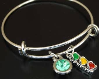 Drivers License Bangle Bracelet, Adjustable Expandable Bangle Bracelet, Drivers License Charm Bracelet, Driving Jewelry, Driving Safely