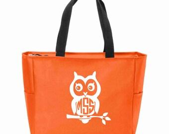 Owl Monogrammed Zip Tote