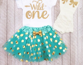 Wild one Wild one first birthday Mint and gold first birthday outfit One year old outfit Girl first birthday outfit First birthday outfit