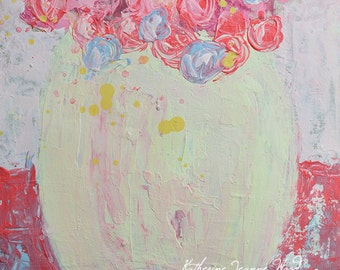 Acrylic Floral Painting. Pink & Blue Roses Painting. Still Life Flower Art. Cottage Chic Wall Decor. 194