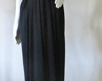1970s Elegant Lilli Diamond Black Maxi Dress w/ Sequin Plunging V Bodice