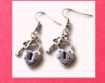 Silver Heart Lock and Key Earrings, 925 Sterling Silver Wires, Key to My Heart, Valentine's Day Gift